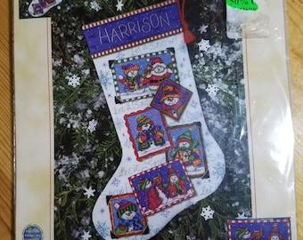 Dimensions, Snowmen Snapshots, counted cross stitch  stocking kit