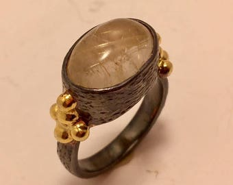 rutilated quartz, sterling silver, gold plated