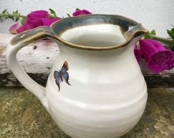 Milk Jug pitcher ceramic pottery  butterfly