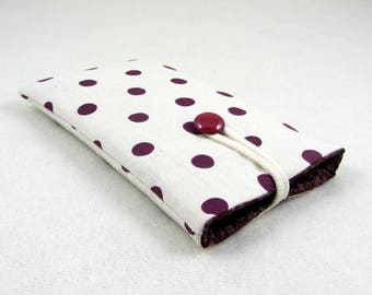 Cellphone sleeve, i phone cover, padded phone case, fabric i phone sleeve, ecru and aubergine, handmade sleeve