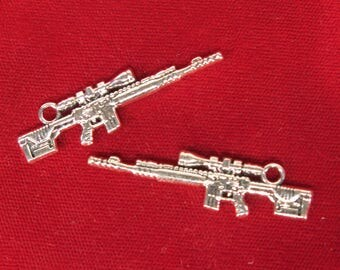 """Large! 15pc """"rifle"""" charms in antique silver style (BC1254B)"""