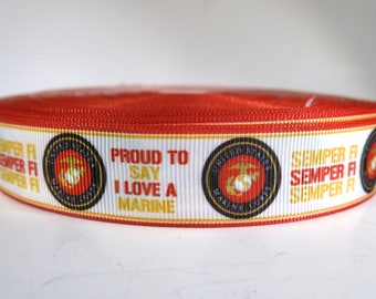 "5 yards of 7/8 inch ""Semper Fi"" grosgrain ribbon"