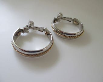 Vintage Napier Hoop Earrings Clip/Screwback Two Tone Silvertone Goldtone Free Shipping