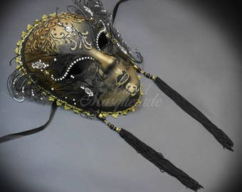 Masquerade Mask, Mask, Wall Decor, Glitters Masquerade Ball Mask, Black Masquerade Mask, Gold Venetian Masquerade Mask