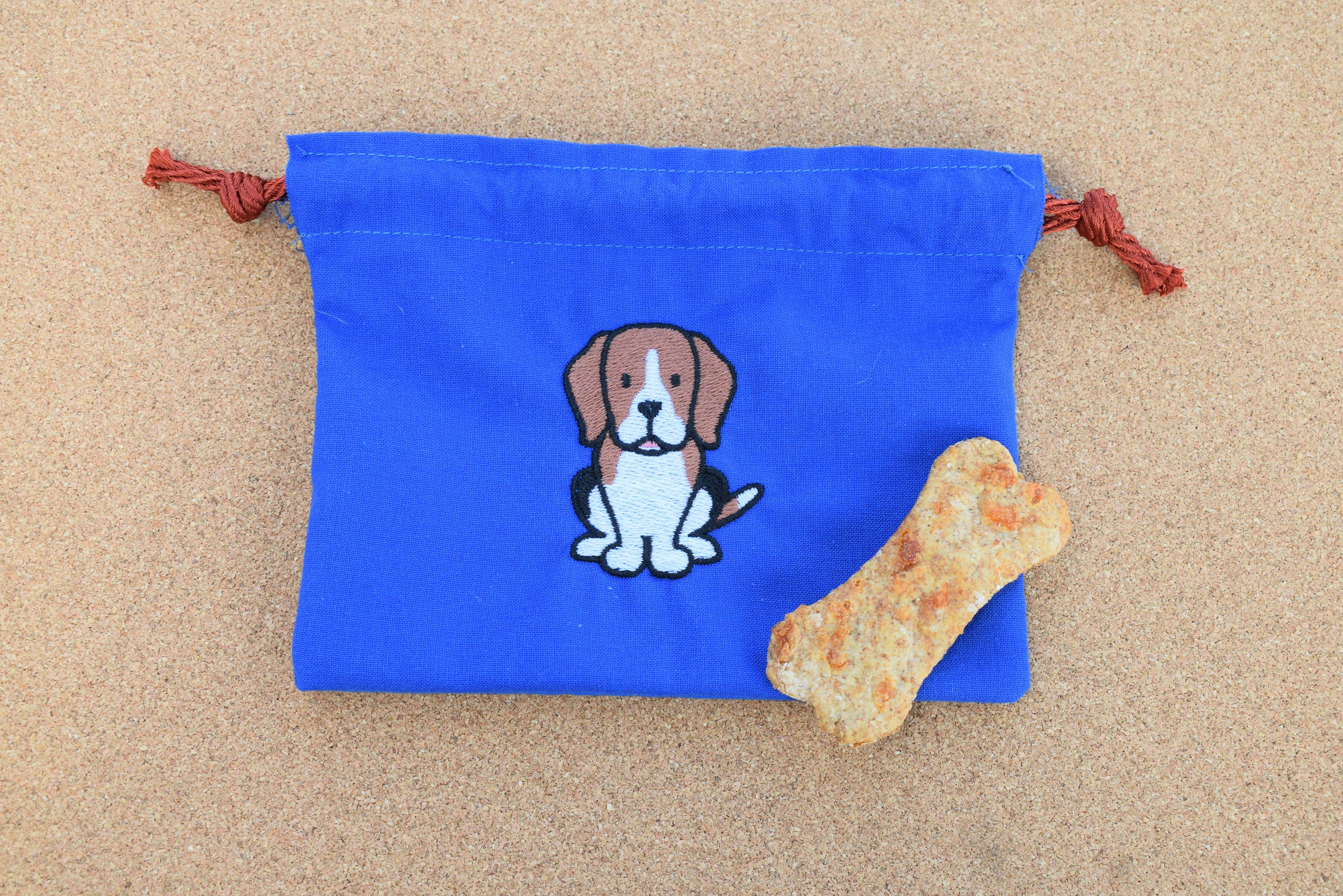 Yellow Dog Treat Bag With A Beagle On It