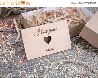 ON SALE TODAY Personalized Wallet Insert with heart, Beech wood, Custom wallet insert love note, customized wallet card, gift for dad, gift