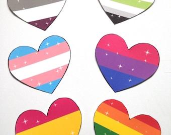 LGBTQ+ heart stickers