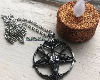 Baphomet Necklace: Sabbatic Goat Necklace. Occult, Pagan, Witch, Goth, Witchcraft, Satanism, Witchcraft, NüGoth, Crowley, Anton LaVey, Satan