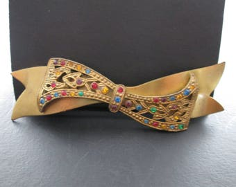 Vintage Large Gold Tn Bow Brooch Pin Red Blue Yellow Green and Purple Rhinestones