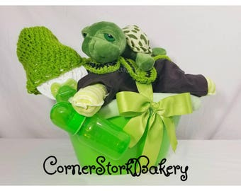 Baby Diaper Cake  Turtle Diaper Cake  Baby Gift Basket  Green Baby Gifts  Baby Shower Centerpiece  Diaper Cake  Centerpiece  Turtle  Baby