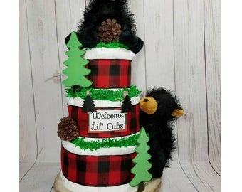 Lil' Cubs Diaper Cake  Little Cubs Baby Shower  Outdoors Diaper Cake  Baby Gift  Twin Bears Diaper Cake  Twins Baby Shower  Centerpiece 