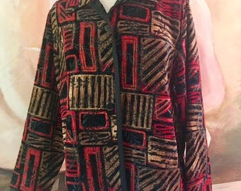 Chicos Geometric reversible jacket,coat,Red,gold,Black,Red, Medium