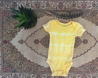 3 FOR 25 DOLLARS Natural Hand dyed OOAK Turmeric 9-12 Month Baby Onsie