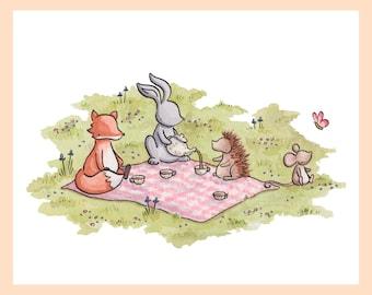 "Animal Tea Party illustration. Mounted 8""x10"" nursery art print of woodland friends having a picnic"