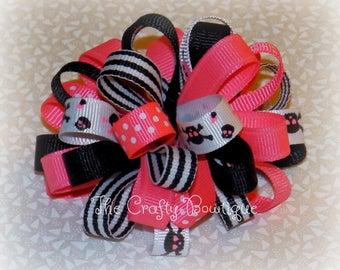 Skull Hair Bow ~ Skull Loopy Bow ~ Polka Dot Hair Bow ~ Pink & Black Bow ~ Pink Skull Bow ~Black Skull Bow ~ Skull and Crossbones ~ Hot Pink