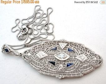 Sale Art Deco Necklace, 14K White Gold,Diamond And Sapphire,Necklace and Pendant,Antique Necklace,Sapphire Necklace,Antique Jewelry