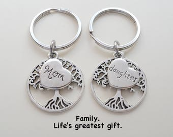 Mother & Daughter Keychain Set, Mother's Day Gift, Gift for Mothers Day, Tree Keychains, Birthstone Option, Going Away Gift, Graduation Gift