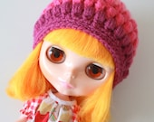 Pink Ombre Puff Beanie - A Crochet Blythe Doll Hat for Kenner and Neo - Blythe Hat - Blythe Clothes - Crochet Hat - Eriko's Emporium