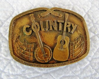 Solid Brass Country Music Belt Buckle