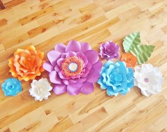 Set of 8 Paper Flowers - Baby Nursery Decor   Paper Flower Backdrop   Paper Flower   Paper Flower Wall   Paper Flower Art   Wedding Flowers