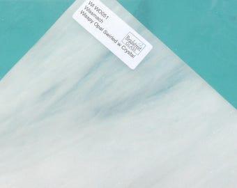 Wissmach Wisspy Opal Swirled with Crystal 8x8 Stained Glass Sheet White Wispy Glass Supply, Sheet Glass Mosaic Glass Jewelry Making