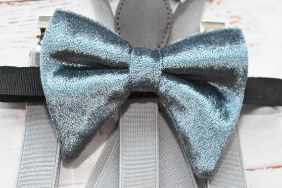 Kids grey velvet floppy / butterfly bow tie  for Baby, Toddlers and Boys (Kids Bow Ties) with Braces/ Suspender