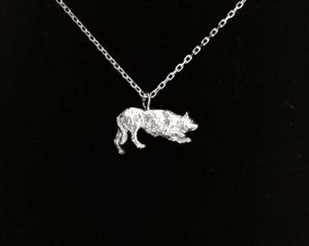 Silver border collie charm necklace