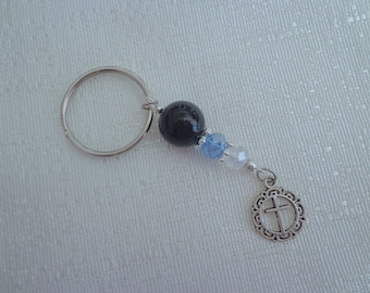 Safe Travel Blessed Keychain, Beaded Key Chain, Black Onyx and Blue Keychain, Cross Keychain