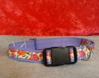 Purple Floral Handmade Dog Collar
