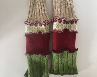 Upcycled fingerless gloves, arm warmers, wrist warmers, repurposed