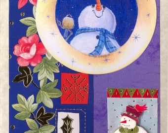 MY 5 x 7 inch SNOWMEN CHRISTMAS Cards; free shipping, set of four, collage prints, orginal art,