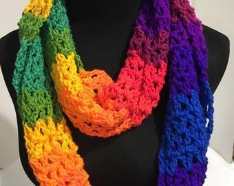 Crochet Infinity Scarf - Bright Rainbow stripe