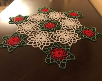 Hand Mad, Christmas Colors(red, green & white) Crochet Beaded Doily,Table Toppers