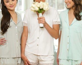 Bridesmaid PJ's | Lace PJ Sets | Wedding Pajamas | Bridesmaid PJs | Lace Night Set | Short Pajamas | Pretty Bridal PJ's | Bridal Pyjamas