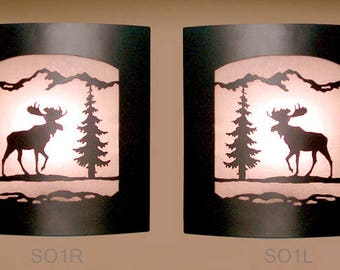 Pair of 2 Wall Sconce Rustic Moose Light, Cabin Decor Lamp Left & Right Facing