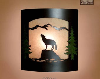 Wall Sconce Rustic Wolf Light, Cabin Decor Lamp, Hand Painted Pine Tree Left Facing