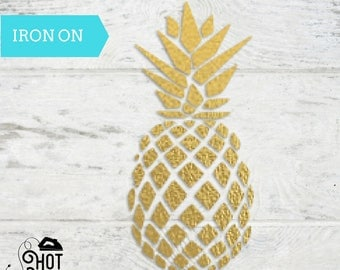Pineapple - Iron on Decal - Applique- Aloha Beaches - Tropical Theme - Gold Foil - Gold Glitter - Shirt - Tank Top - Onesie - Tote Bag - A3