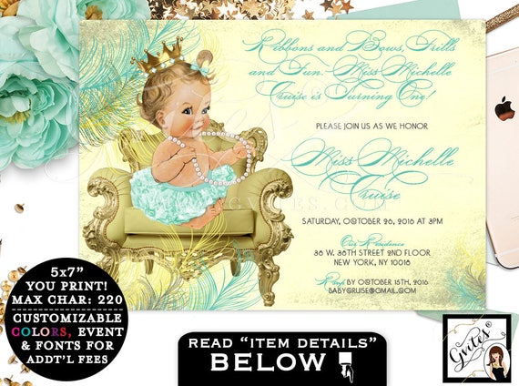 FIRST BIRTHDAY Invitation, mint green and yellow gold PRINTABLE invitations, gray green and gold, ribbons and bows, diamonds pearls, 7x5.