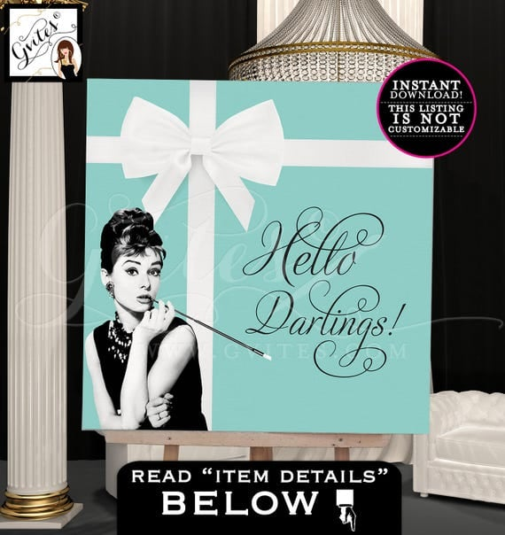 Breakfast at Tiffany's Party Signs Audrey Hepburn party table backdrop, poster sign center piece back drop poster sign. PRINTABLE 48x48""