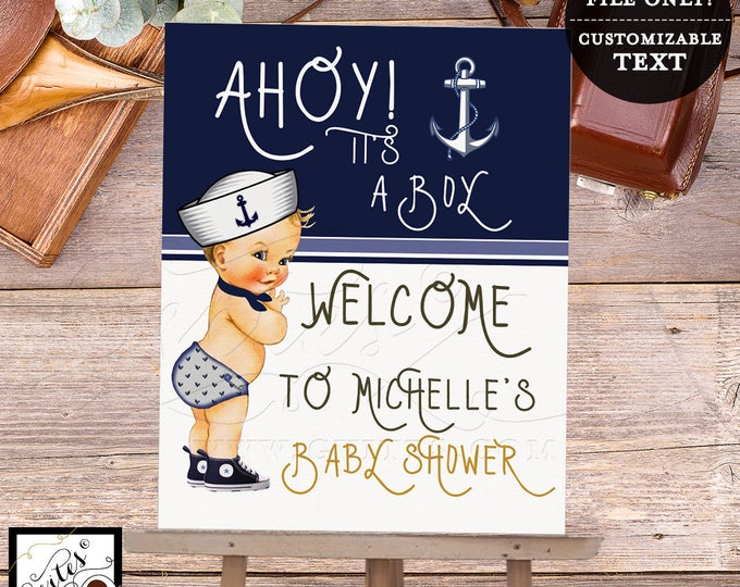Nautical Welcome Sign Little sailor baby shower printable, baby boy baby shower, nautical blue, Digital File Only!