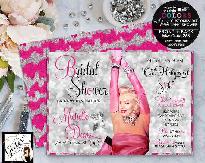 Pink and silver bridal shower Hollywood theme shower invitation, glitz and glamour, Marilyn Monroe party invites,1950's, digital file 5x7.