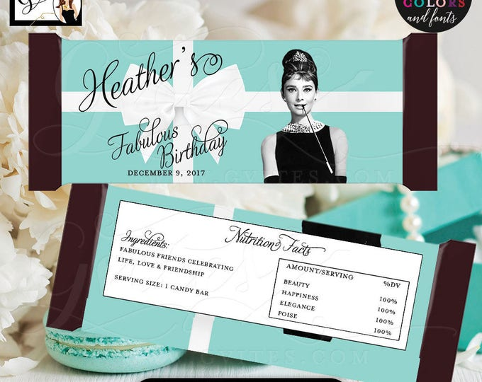 "Birthday Candy Bar Wrapper, hershey chocolate wrapper, Audrey Hepburn party decor PRINTABLE {2 Per/Sheet 5.25 x 5.75""}"