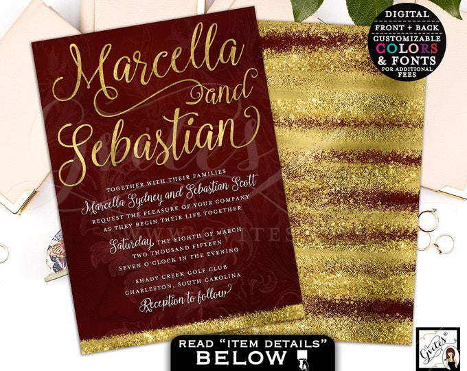 Burgundy and gold wedding invitation, wine and gold invitations, gold glitter, digital invites, customizable, double sided, 5x7, Gvites