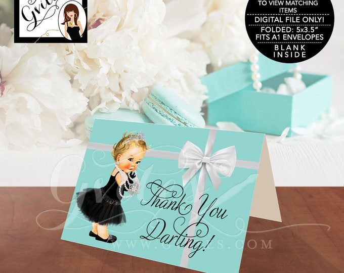"Baby Shower Baby and Co Thank You Cards, Audrey Hepburn Party Themed Printable, DIGITAL FILE ONLY!  5x3.5"" 2 Per/Sheet #BATGBB102"