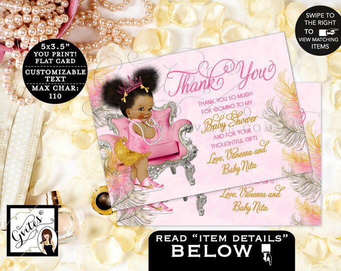 "Pink and Gold Thank you baby shower cards, African American note cards thank you flat customizable text. {5x3.5"" 4 Per/Sheet}"