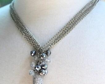 pave necklace, pendant necklace, long necklace, clear necklace, bohemian necklace, boho chic necklace, valentines