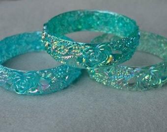 Molded Plastic Floral Bracelets Lot of 3 NOS 1970's Vintage
