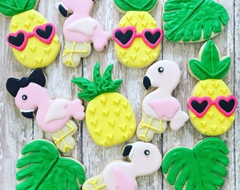 flamingo /summer/ pineapple party cookies sugar