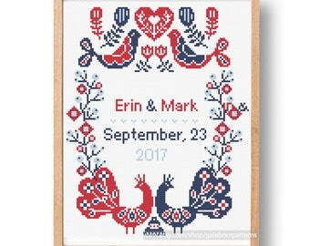 Wedding cross stitch pattern, Custom embroidery, Beginners, Birds flowers cross stitch easy cross stitch wedding sampler, Scandinavian