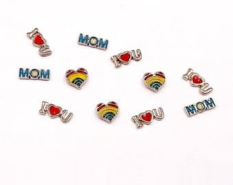 Rainbow Heart  ILoveYou  Mom Enamel Floating Memory Charms for Floating Locket Pendants Jewelry Supplies EFMCFLP-1WD1